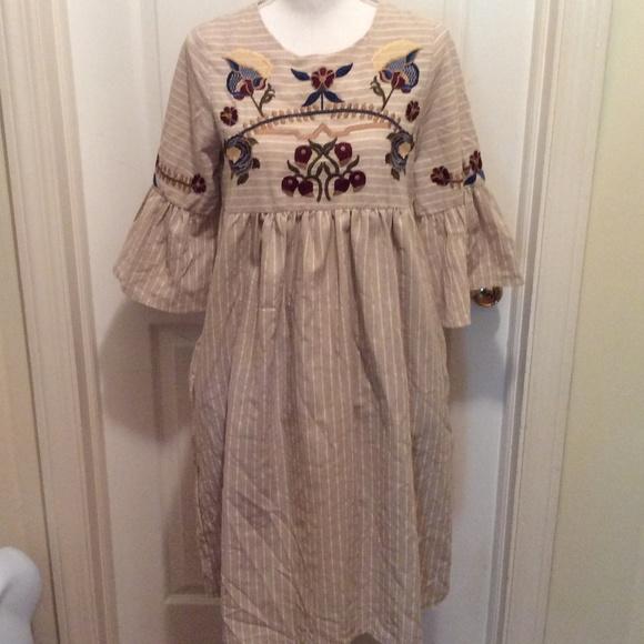 orange creek Dresses & Skirts - Orange Creek Dress S Beige White Stripe Embroidery